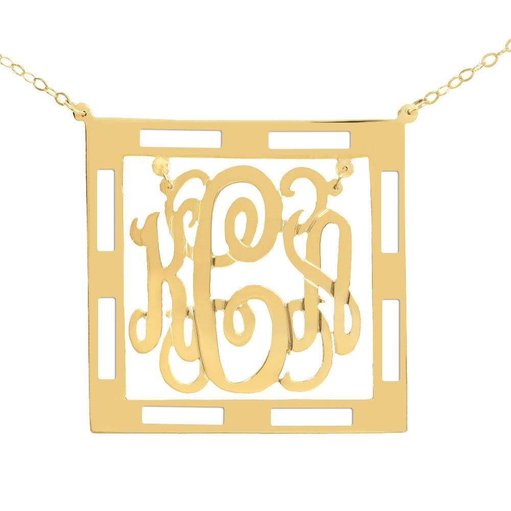14Kt gold-plated Chandelier Classic Framed Monogram Necklace