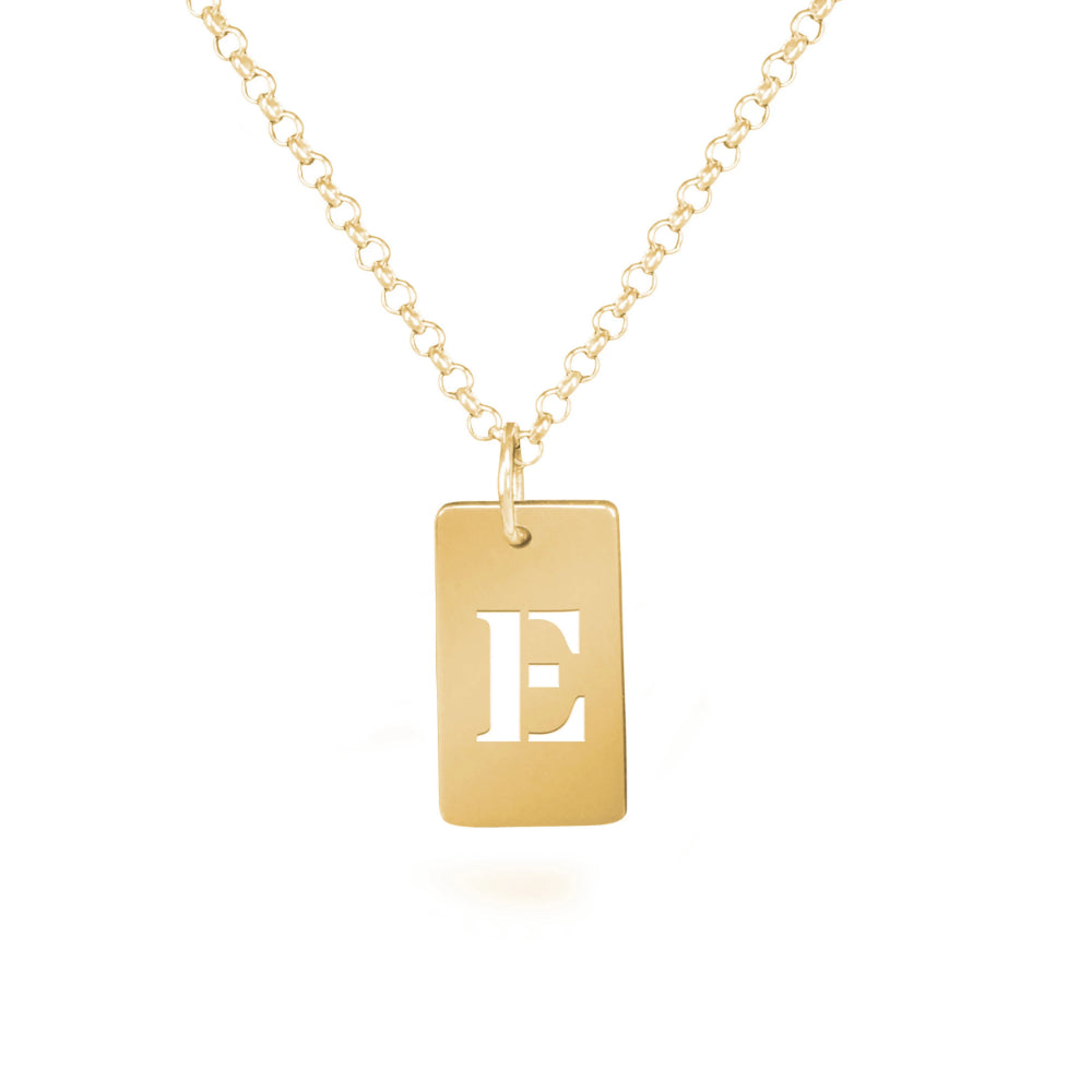 personalized 14K gold plated sterling silver tag initial necklace