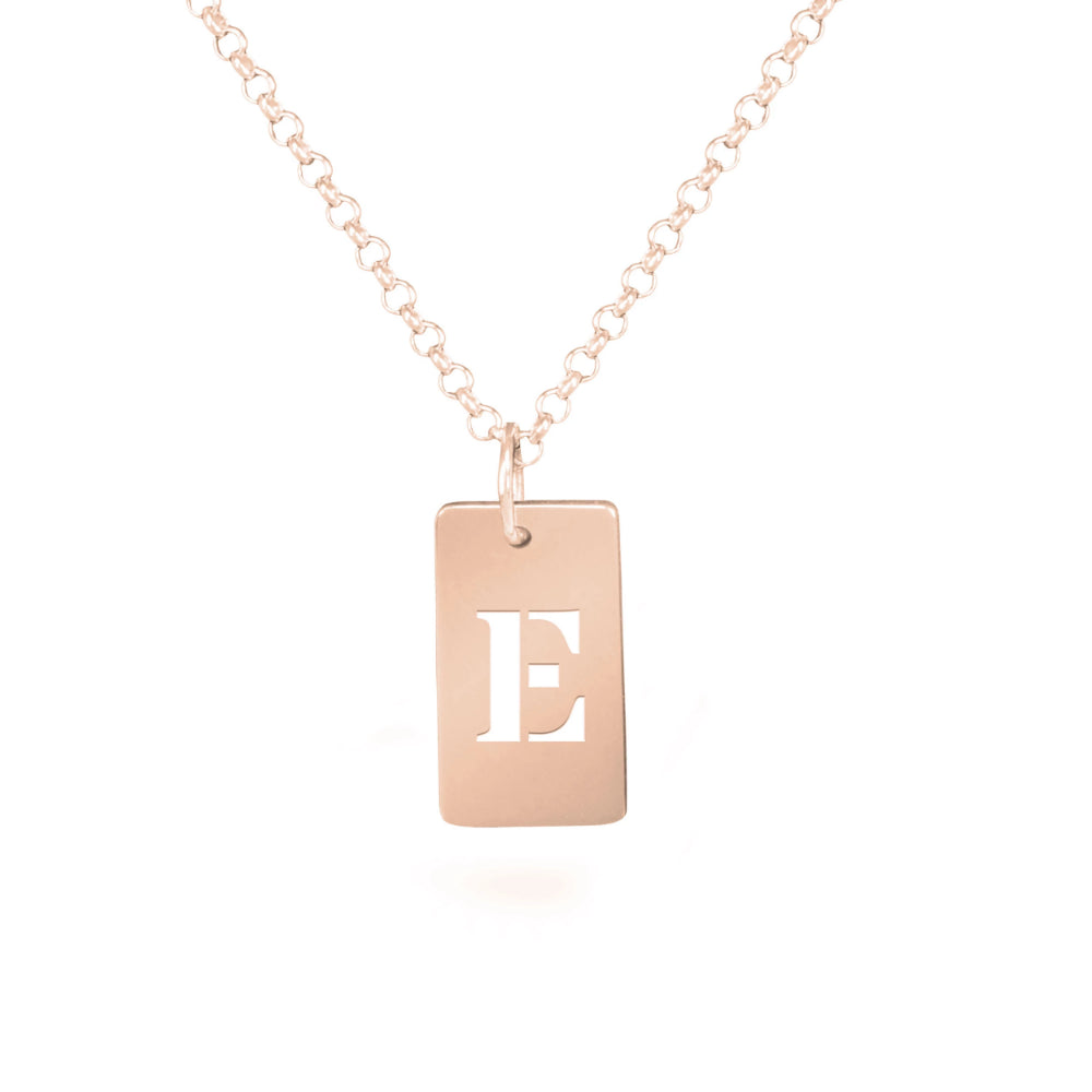 personalized 14K rose gold plated sterling silver tag initial necklace