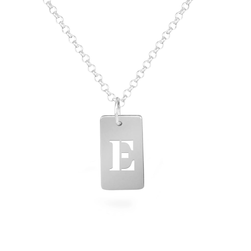 personalized sterling silver tag initial necklace