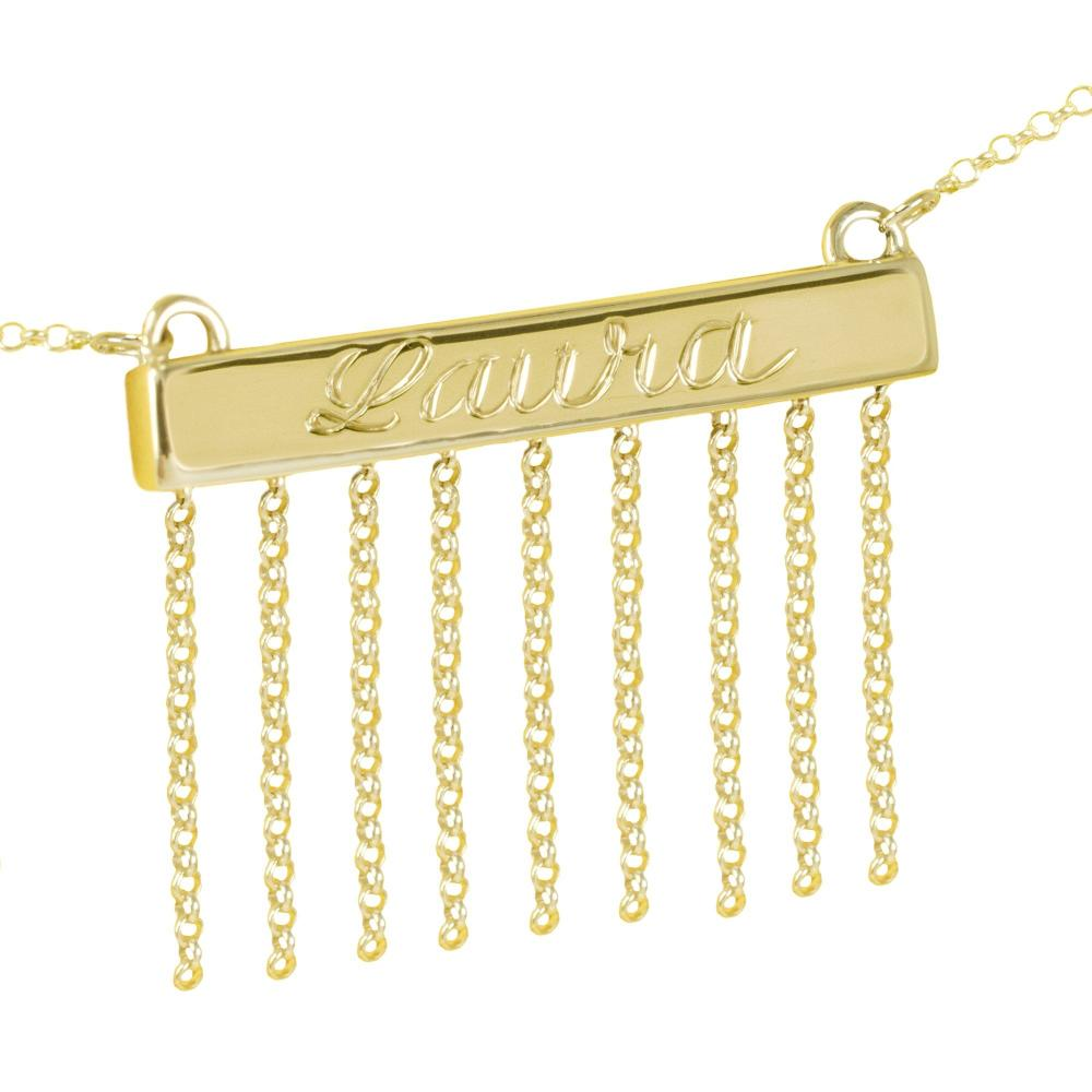 24k gold plated sterling silver-personalized-bar-necklace-with-chain-accents