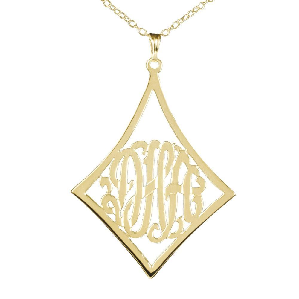 14K gold plated sterling silver-curved-frame-monogram-necklace