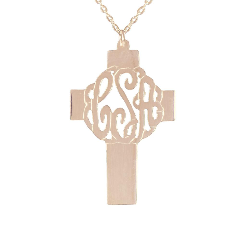 14K rose_gold plated sterling silver-holy-cross-monogram-necklace