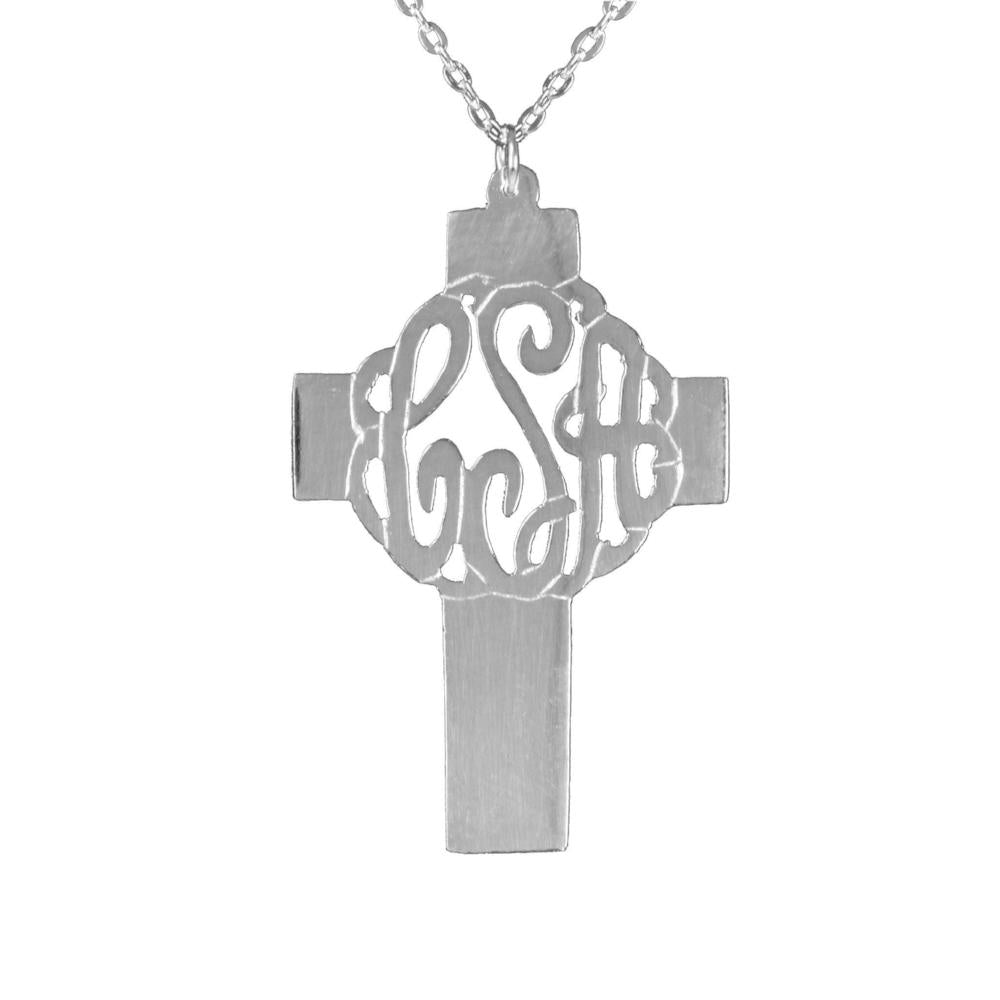 sterling silver holy cross monogram necklace