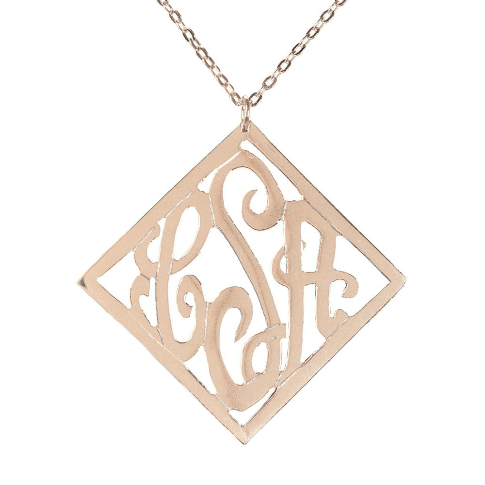 14K rose_gold plated sterling silver-stylish-monogram-necklace