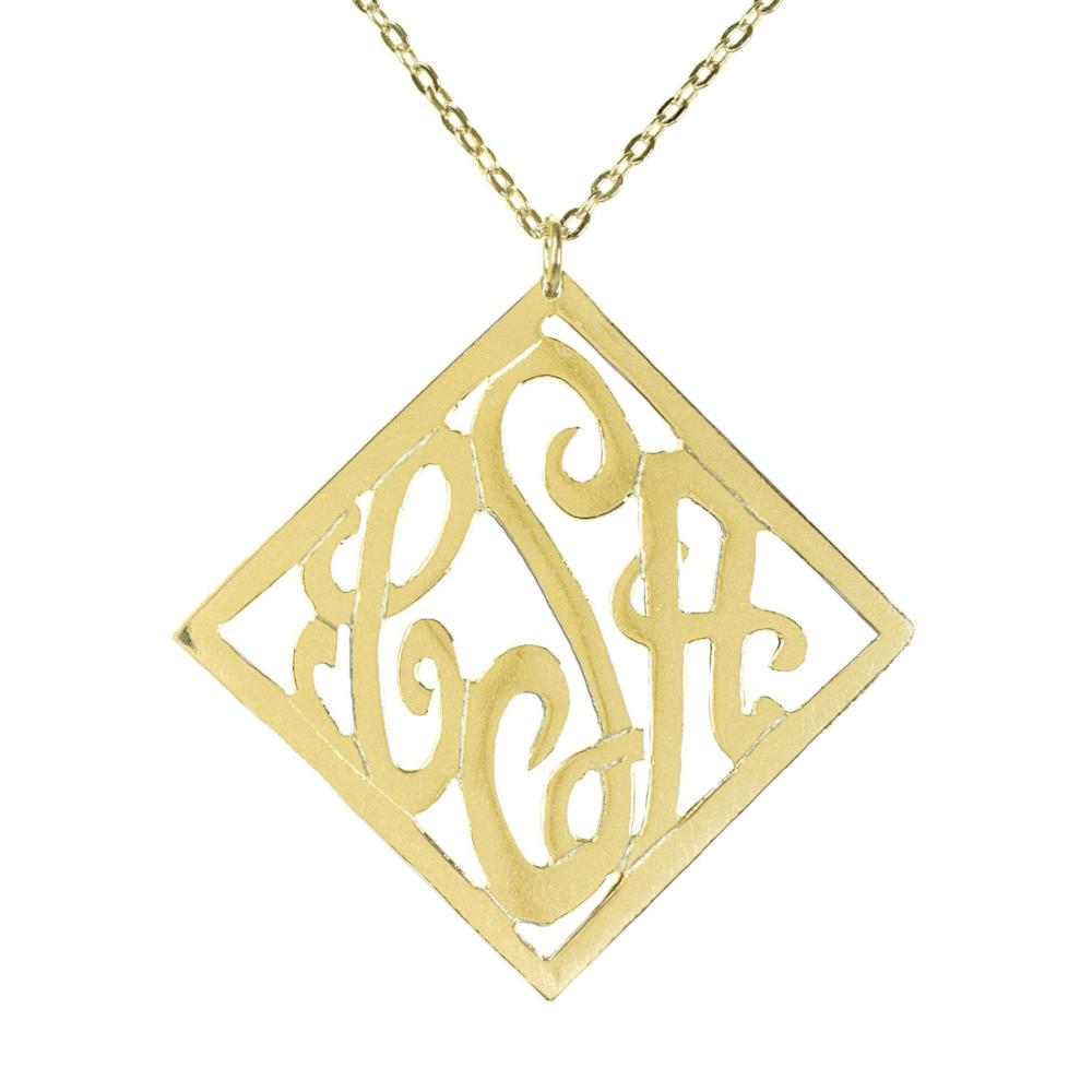 14K gold plated sterling silver-stylish-monogram-necklace
