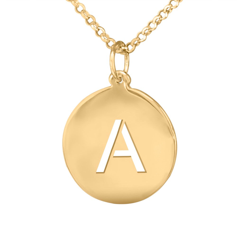 14 karat gold plated sterling silver initial pendant necklace