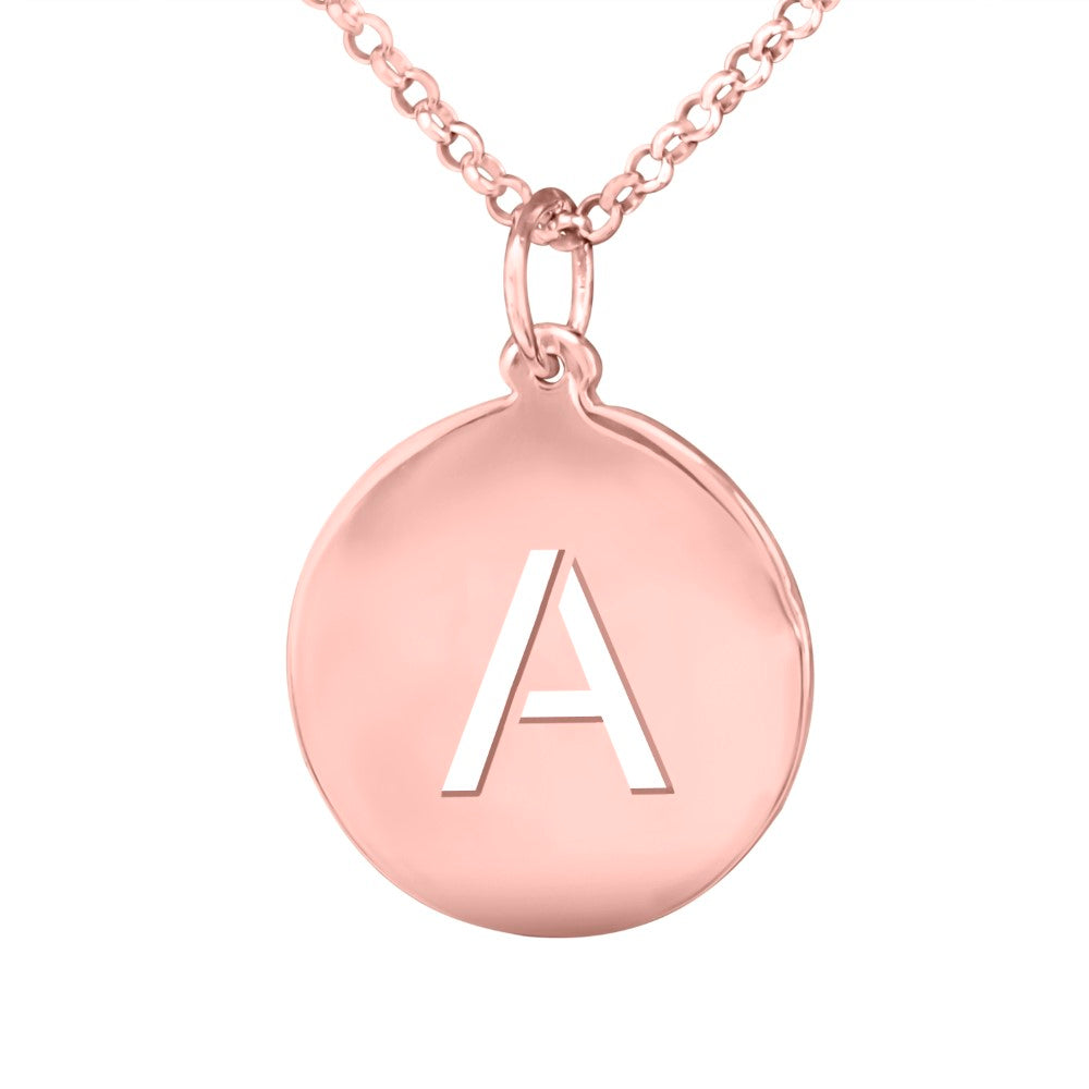 14 karat rose gold plated sterling silver initial pendant necklace