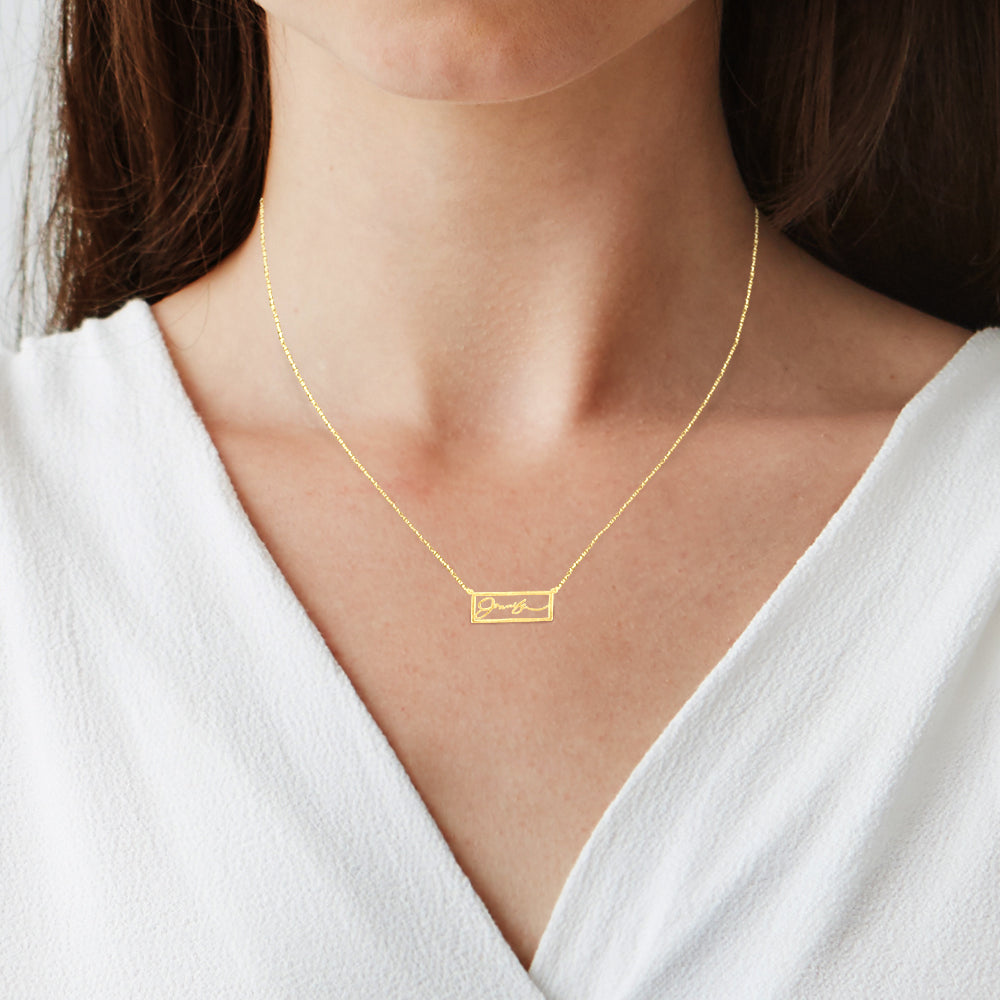 My Signature - Frame Bar Handwritten Name Necklace