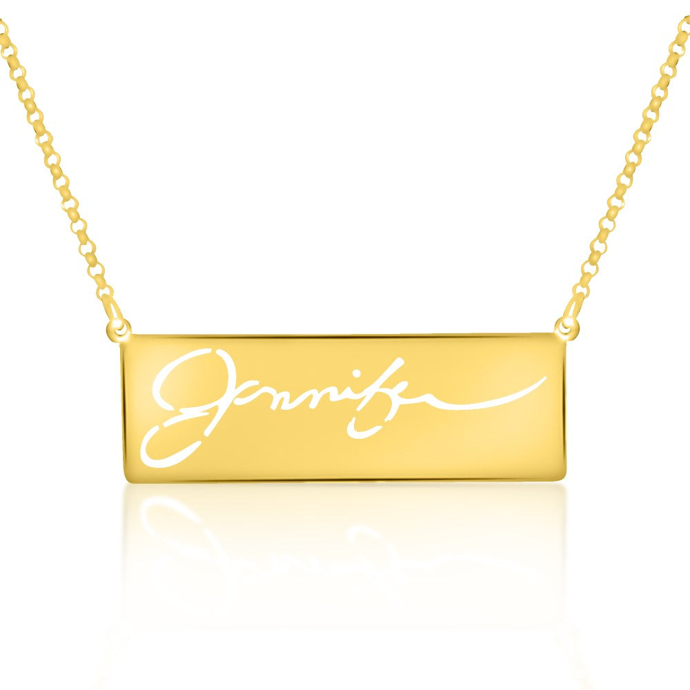14K gold plated sterling silver signature handwritting name necklace