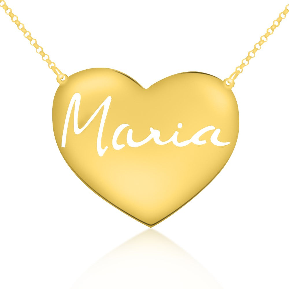 14K gold plated sterling-silver signature engraved heart nameplate necklace