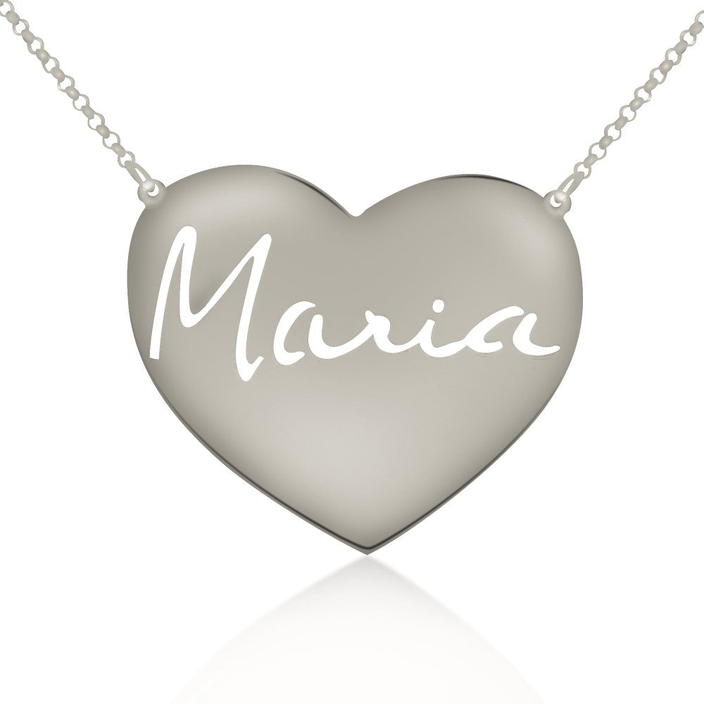 silver signature engraved heart nameplate necklace
