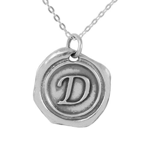 Silver Initial Wax Seal Necklace