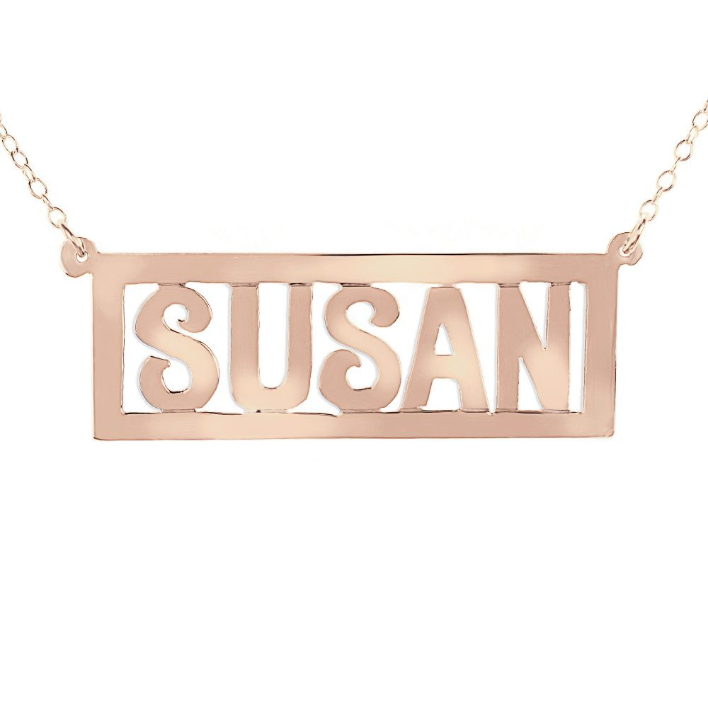 14K rose gold-plated silver thick bar nameplate necklace