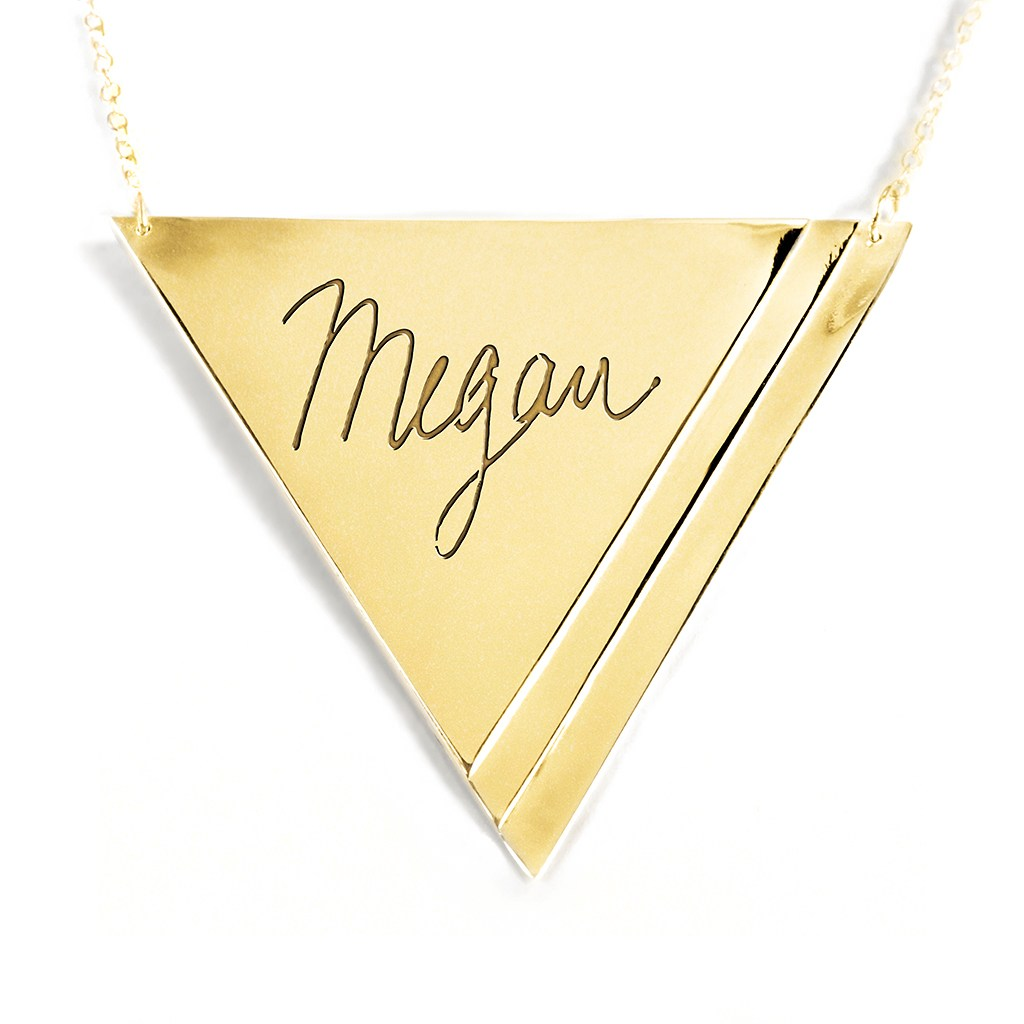 14K gold plated sterling silver inverse pyramid name necklace