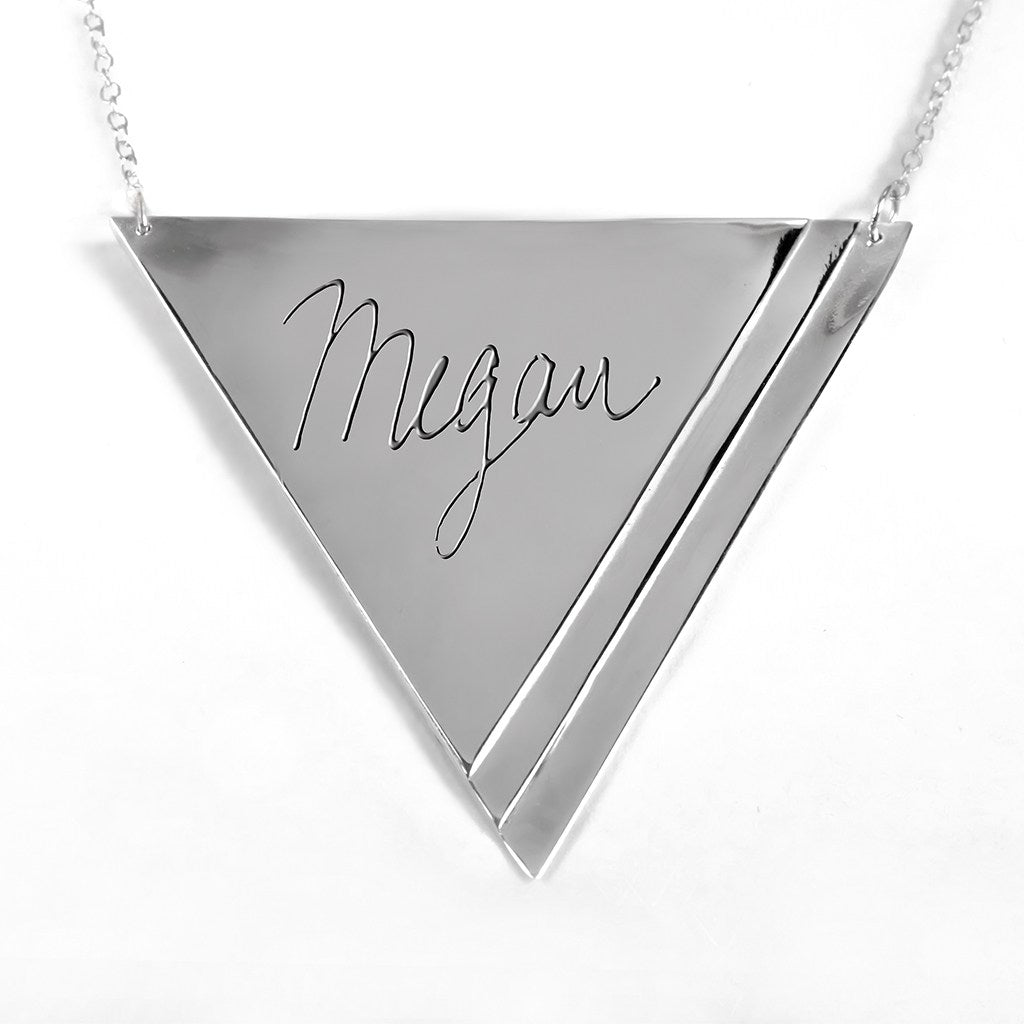 sterling silver inverse pyramid name necklace