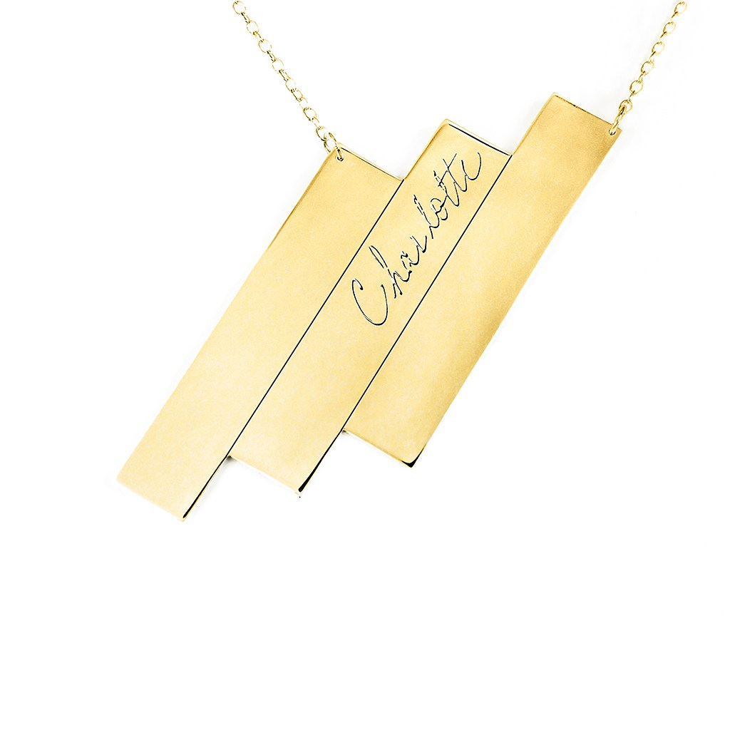 14K gold plated sterling silver triple bar name necklace