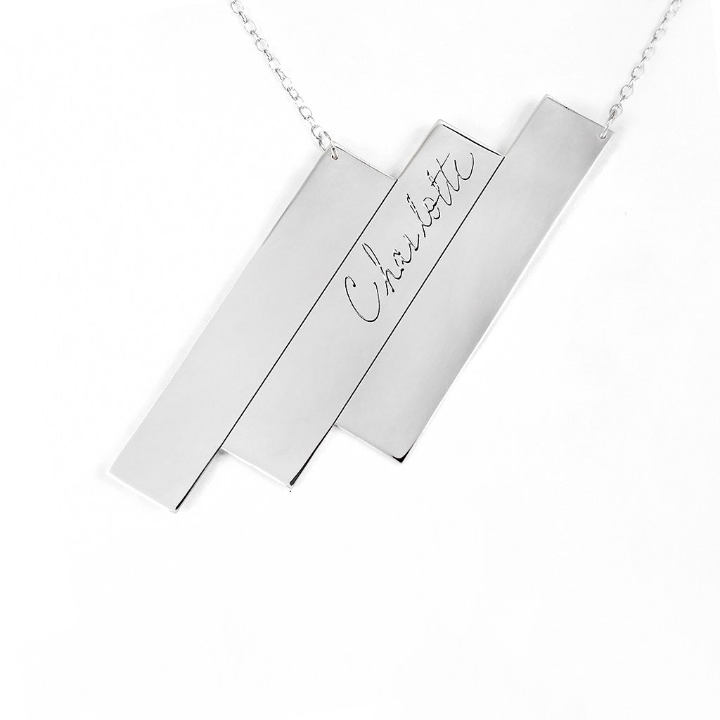 sterling silver triple bar name necklace