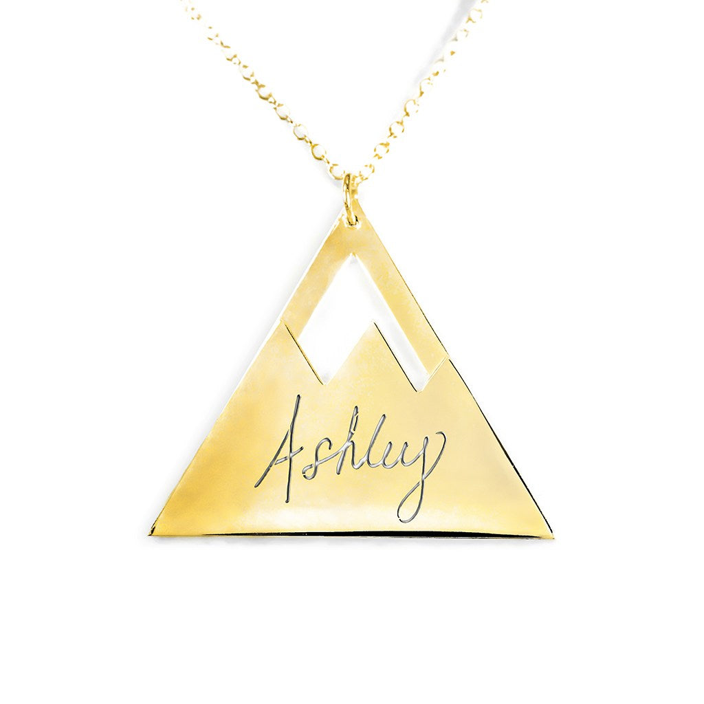 14K gold plated sterling silver mountain name necklace