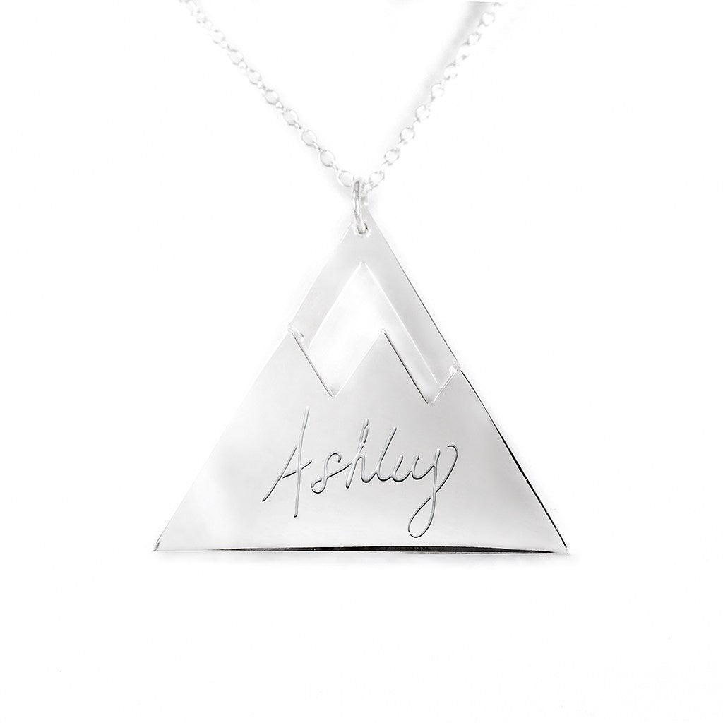 sterling silver mountain name necklace