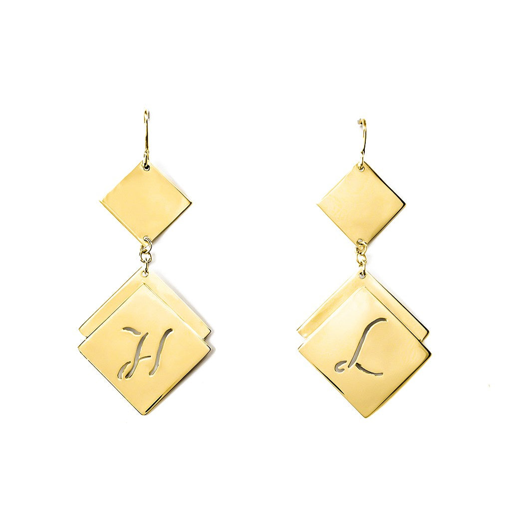 personalized 24k gold plated sterling silver earrings