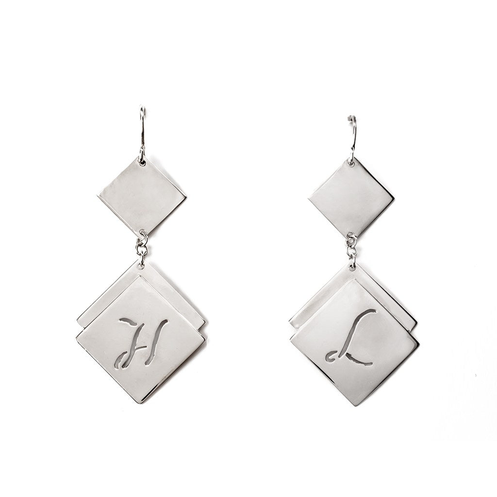 personalized silver earrings