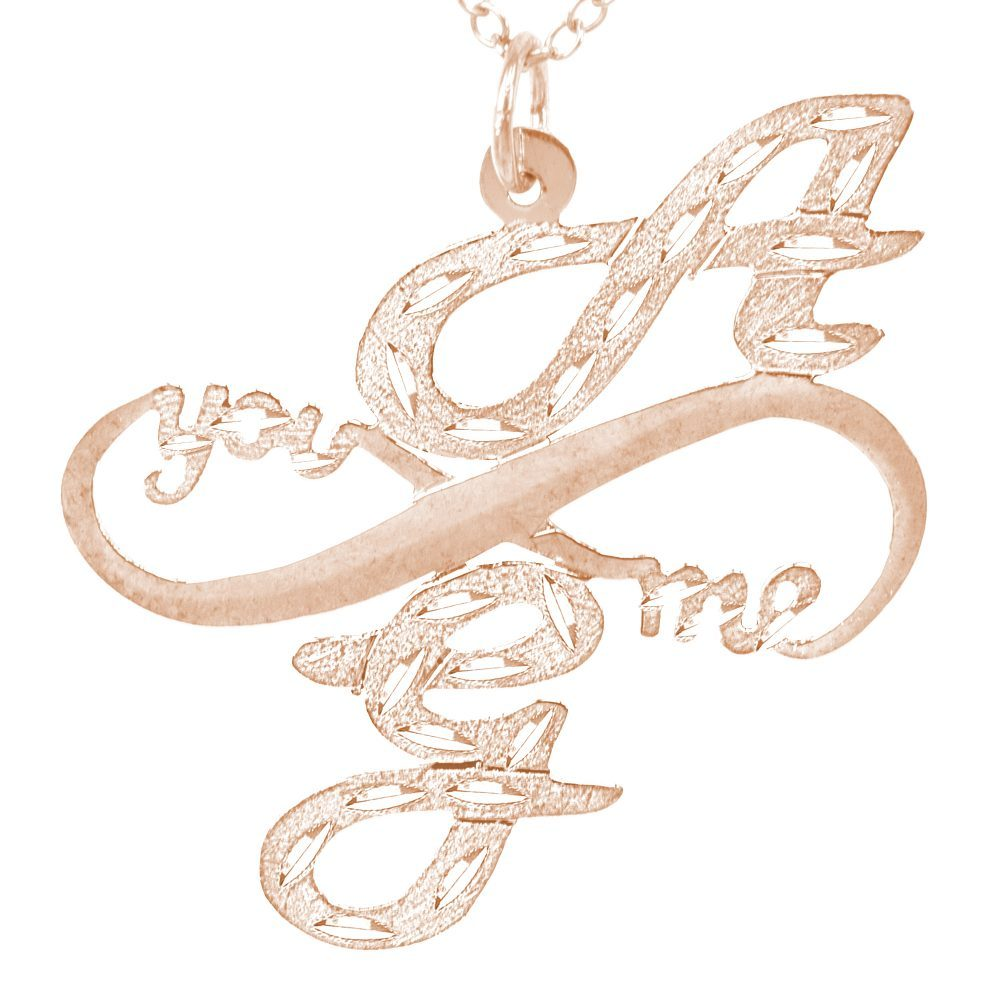 14K rose gold-plated silver monogram necklace with infinity symbol between initials