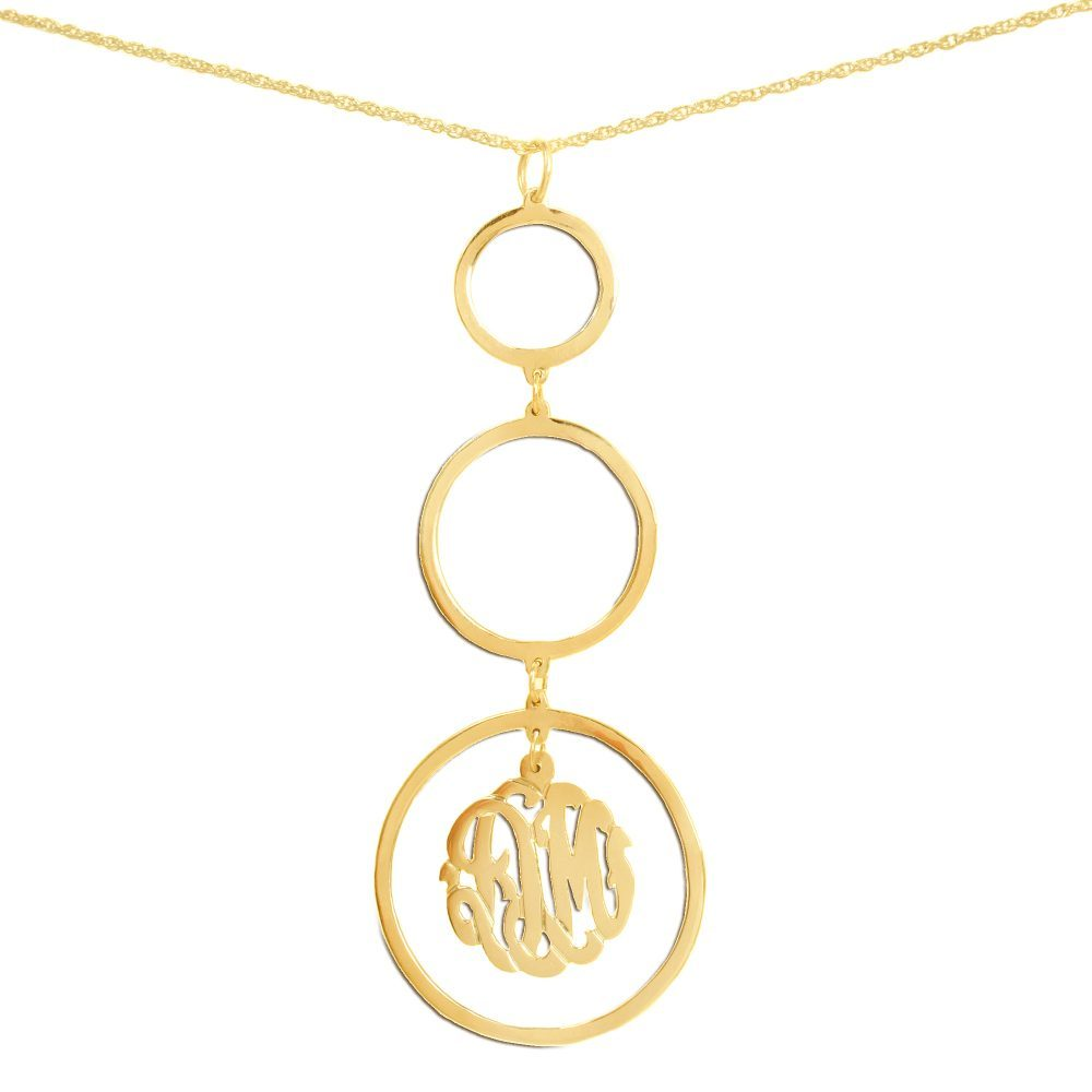 14K gold-plated silver necklace with three hanging circle pendants with a monogram inside bottom pendant