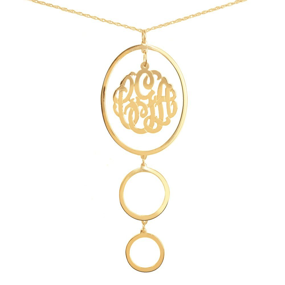24k gold-plated silver circular drop pendant necklace with monogram inside top oval pendant