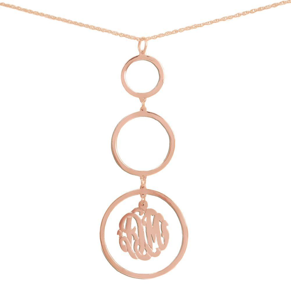 14K rose gold-plated silver necklace with three hanging circle pendants with a monogram inside bottom pendant