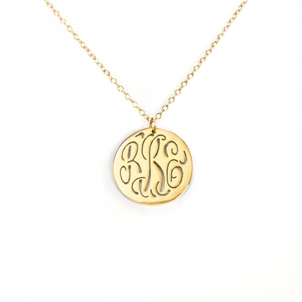 14K gold plated sterling silver-plated silver monogram engraved circle necklace