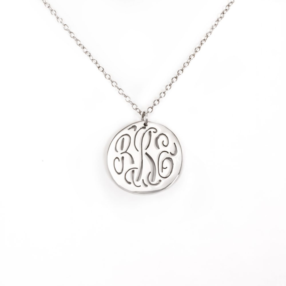 silver monogram engraved circle necklace