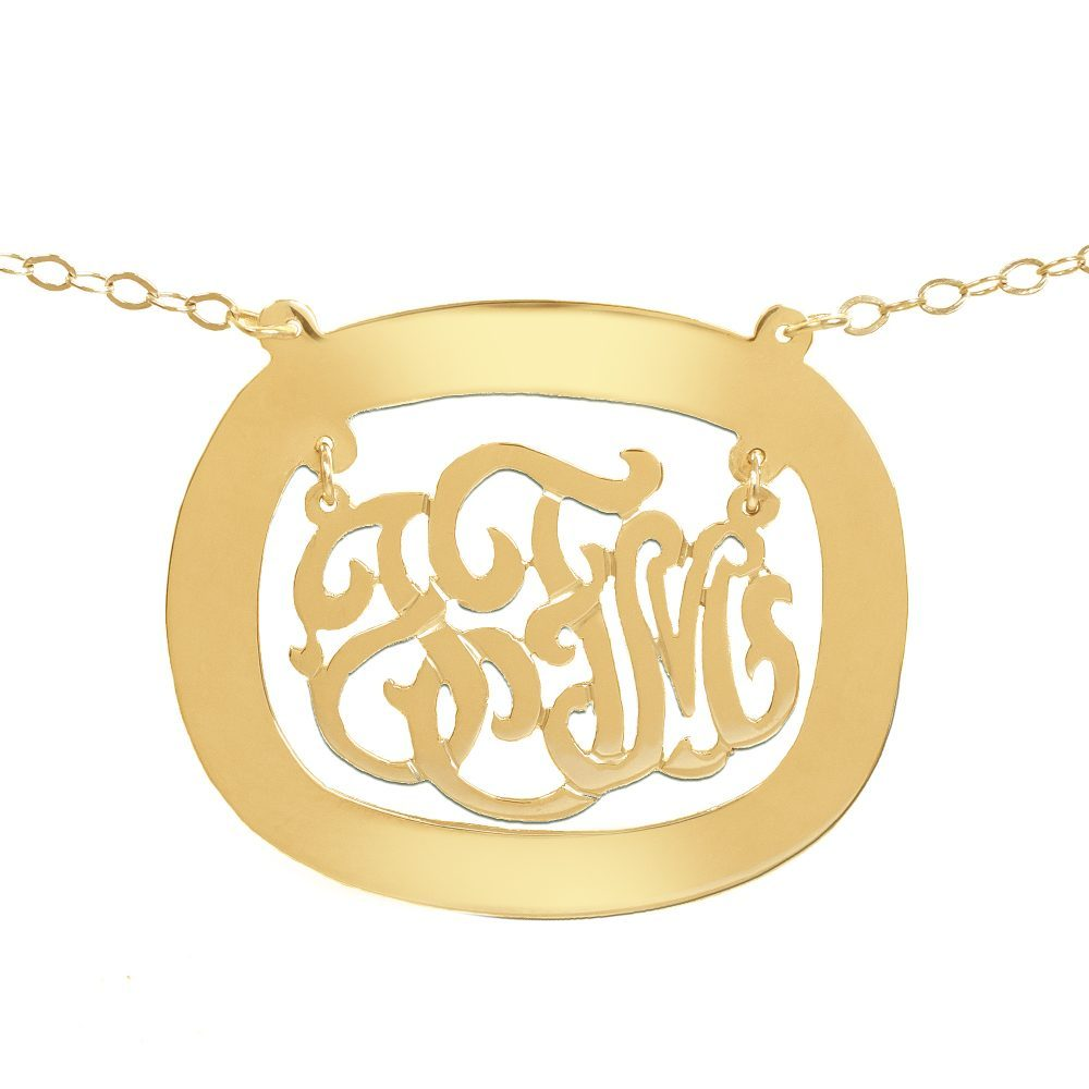 14K gold plated sterling silver monogram necklace