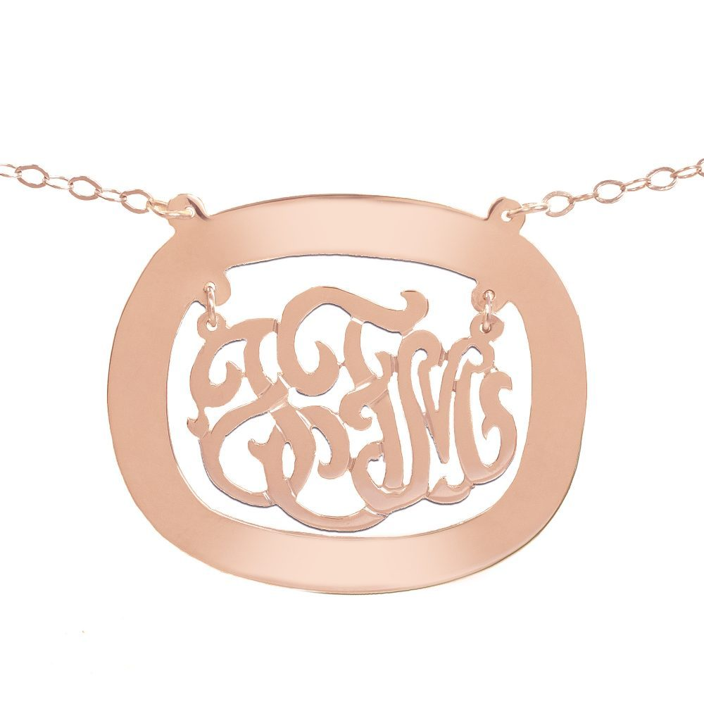 14K rose gold plated sterling silver monogram necklace