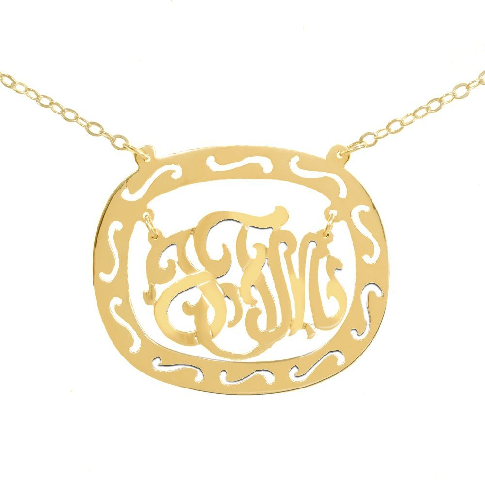 14K gold-plated silver oval monogram necklace inside thick patterned circular frame