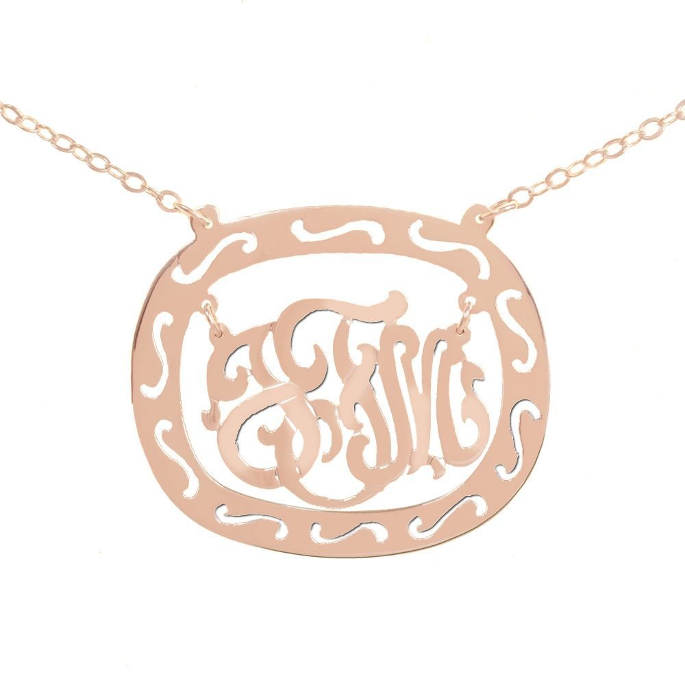14K rose gold-plated silver oval monogram necklace inside thick patterned circular frame
