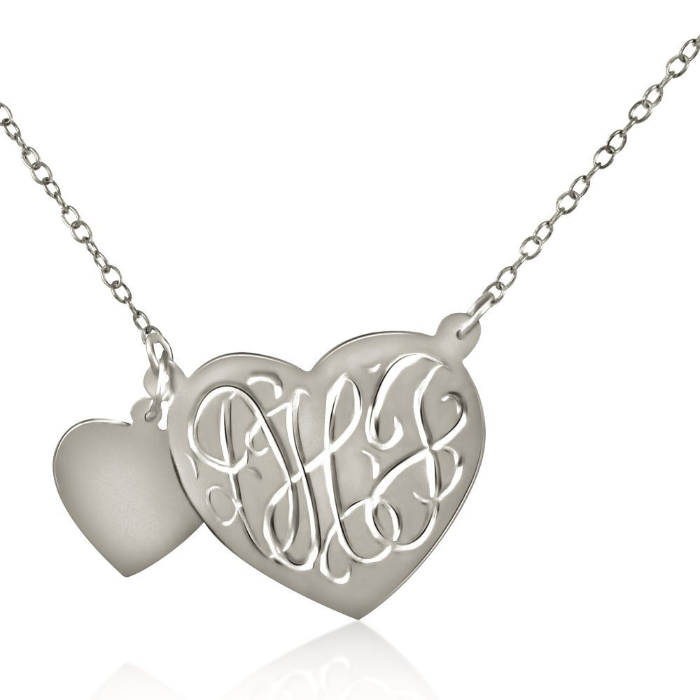 14K gold-plated silver monogram engraved heart necklace with attached heart charm
