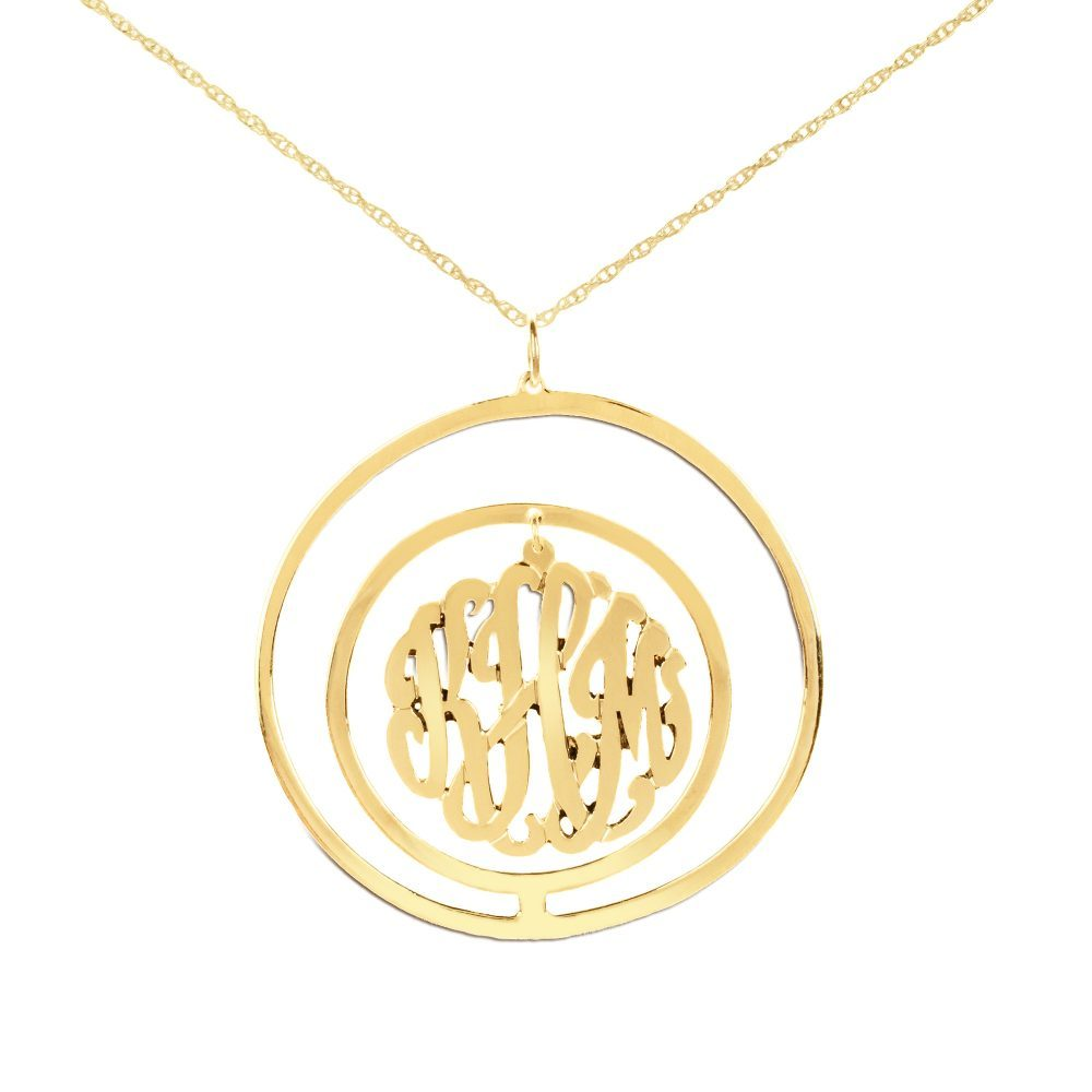 24k gold plated sterling silver monogram necklace inside double circular pendant