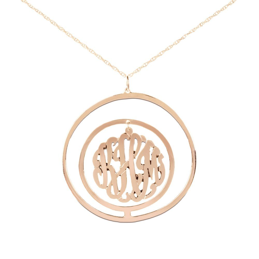 24k rose gold-plated silver monogram necklace inside double circular pendant