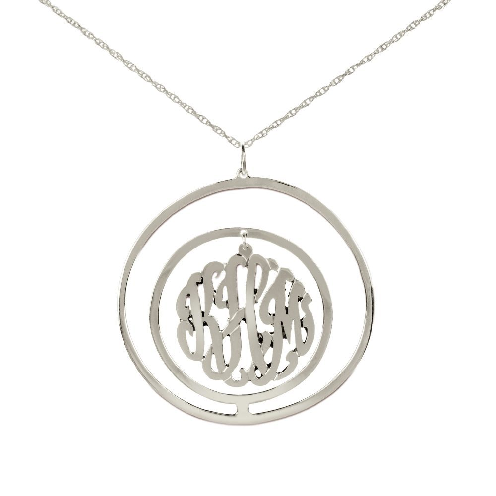silver monogram necklace inside double circular pendant