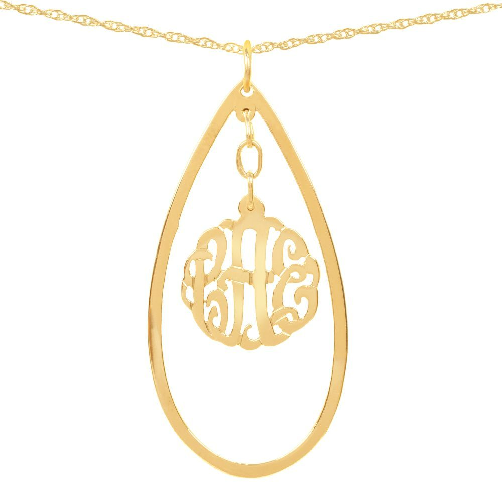24k gold-plated silver necklace with monogram hanging inside a hollow teardrop pendant