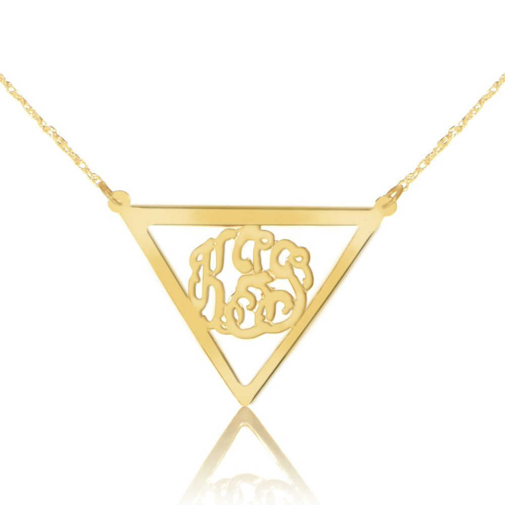 14K gold plated sterling silver monogram necklace inside thick inverse triangle frame pendant