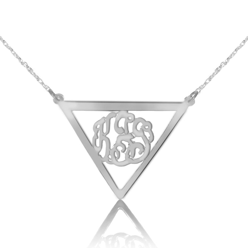 Sterling silver monogram necklace inside thick inverse triangle frame pendant