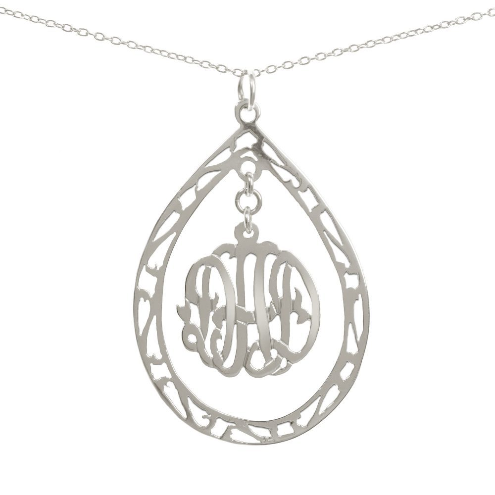 14K gold-plated silver round monogram necklace hanging inside a hollow teardrop pendant