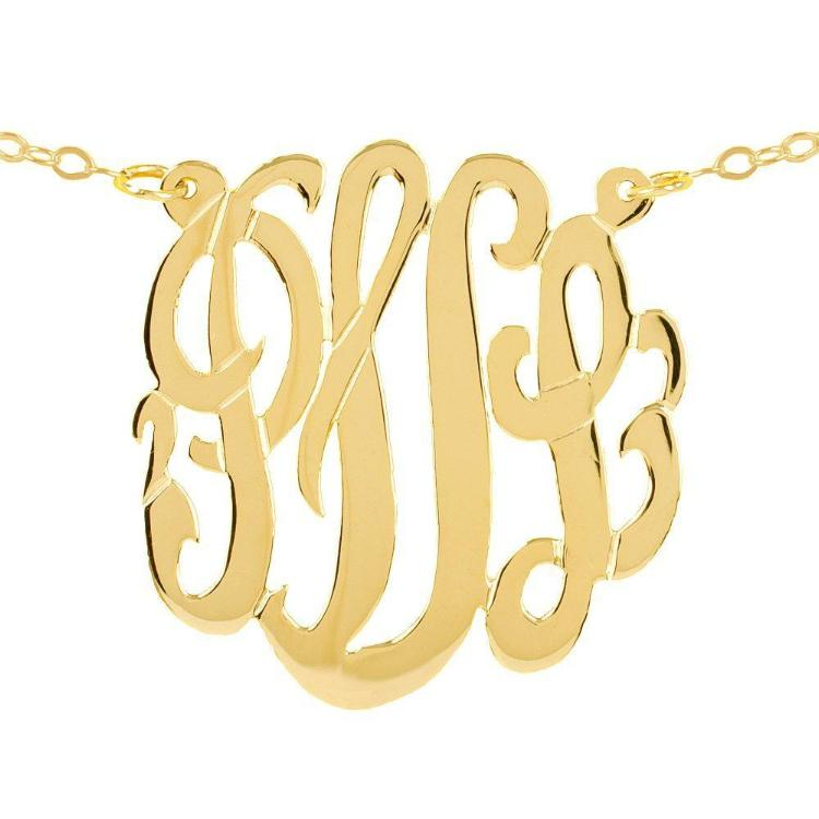 14K gold plated sterling silver-plated silver round monogram necklace