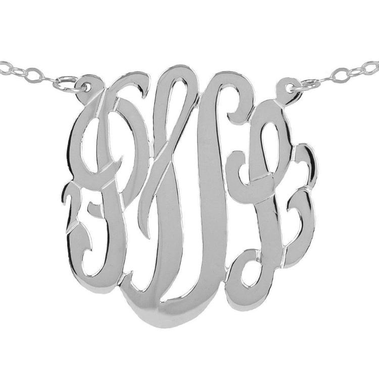 silver round monogram necklace
