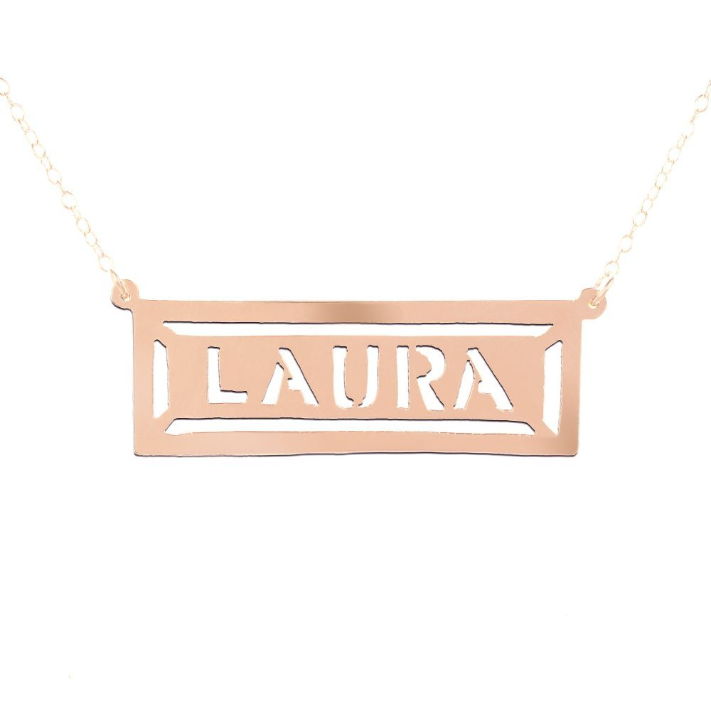 hollow bar 14K rose gold plated sterling silver nameplate necklace