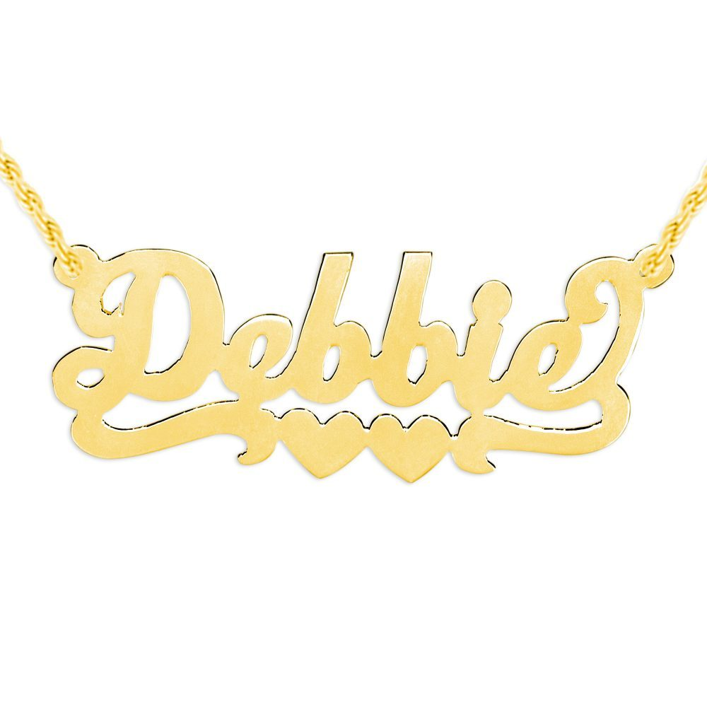 14K gold-plated silver nameplate necklace with duo hearts