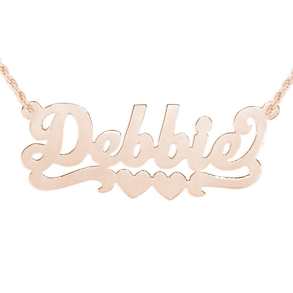 14K rose gold-plated silver nameplate necklace with duo hearts