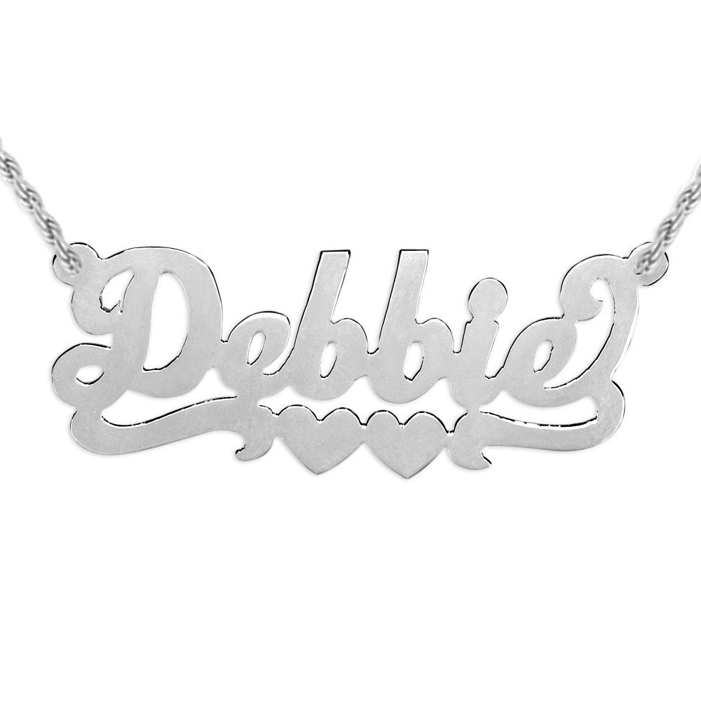 silver nameplate necklace with duo hearts